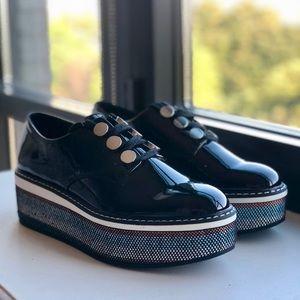 Zara patent leather platform Oxford lace-up shoes